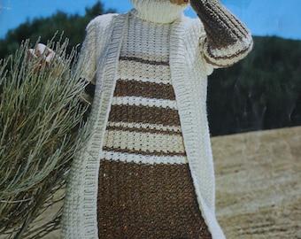 Sweater Knitting Pattern Husky Patons 1500 Hat Vest Women Bulky Weight Yarn Vintage Paper Original NOT a PDF