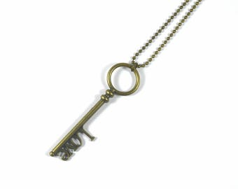 Skeleton key necklace, key necklace, antique key necklace, ball chain, brass necklace, brass key, old key necklace, round key, love