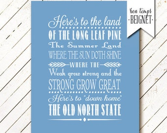 North Carolina State Toast - Printable Instant Download - 8x10, 11x14, and 16x20