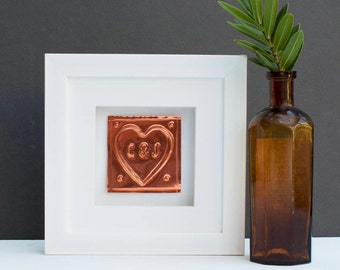 7th Anniversary Copper Framed Gift 7th Anniversary Gift for Husband Gift for Couple Gift for Wife Handmade Copper Gift Copper Frame