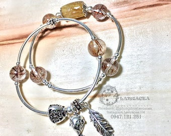 SET 2 Gemstone bracelet |  Red Rutilated quartz beads and yellow rutilated quartz tube combined with 925 silver | Healthy stone 3094