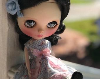 Blythe dress - Blue check Kitten, pink lace trim
