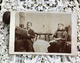 Crochet In the Parlor - Antique Photo Cabinet Card