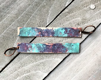 Copper Watercolor Dangle Bar Earrings - long matchstick hand painted patina drop artistic jewelry
