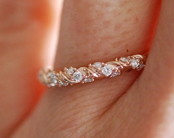 Diamond band Twisted diamond wedding band Rose gold band Half Eternity band 14k gold Band Matching Band by Eidelprecious