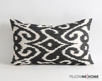 Silk ikat pillow cover - 12x20 inch Double side Handwoven handdyed Black & white fabric tribal decorative silk ikat pillow cover