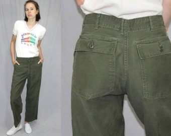 Vintage 80s 90s ARMY Green High Waist FATIGUE Zip Trousers Utility Pants 29x26