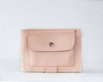 Large phone wallet in baby pink leather, carryall wallet clutch slim large women bifold  case foldover - Iole Wallet