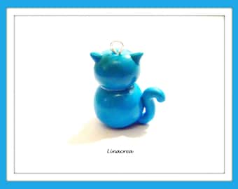 Polymer clay 20 mm x 20 mm blue cat pendant charm