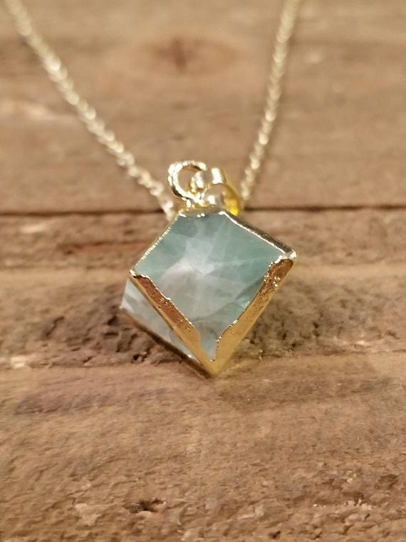 Green Cubed Quartz Pendant 24K Gold Edge Plated Necklace Nature Stone Crystal Gem (N88)