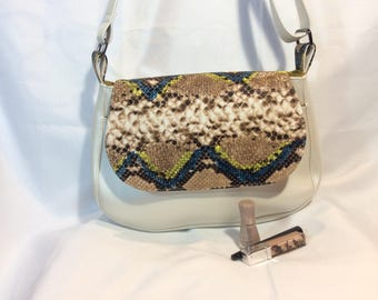 Large pearly white Messenger bag & python