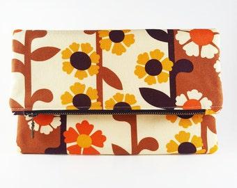Floral Purse Boho Bag Boho Purse Floral Bag Clutch Purse Foldover Clutch, Handbag Gift For Her Birthday Gift Retro Purse Vintage Bag