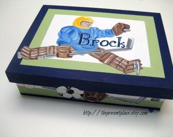 personalized,sports theme,keepsake box,ice hockey box,boys sport box,baby memory box,kid's box,children's box,new baby gift, sport box