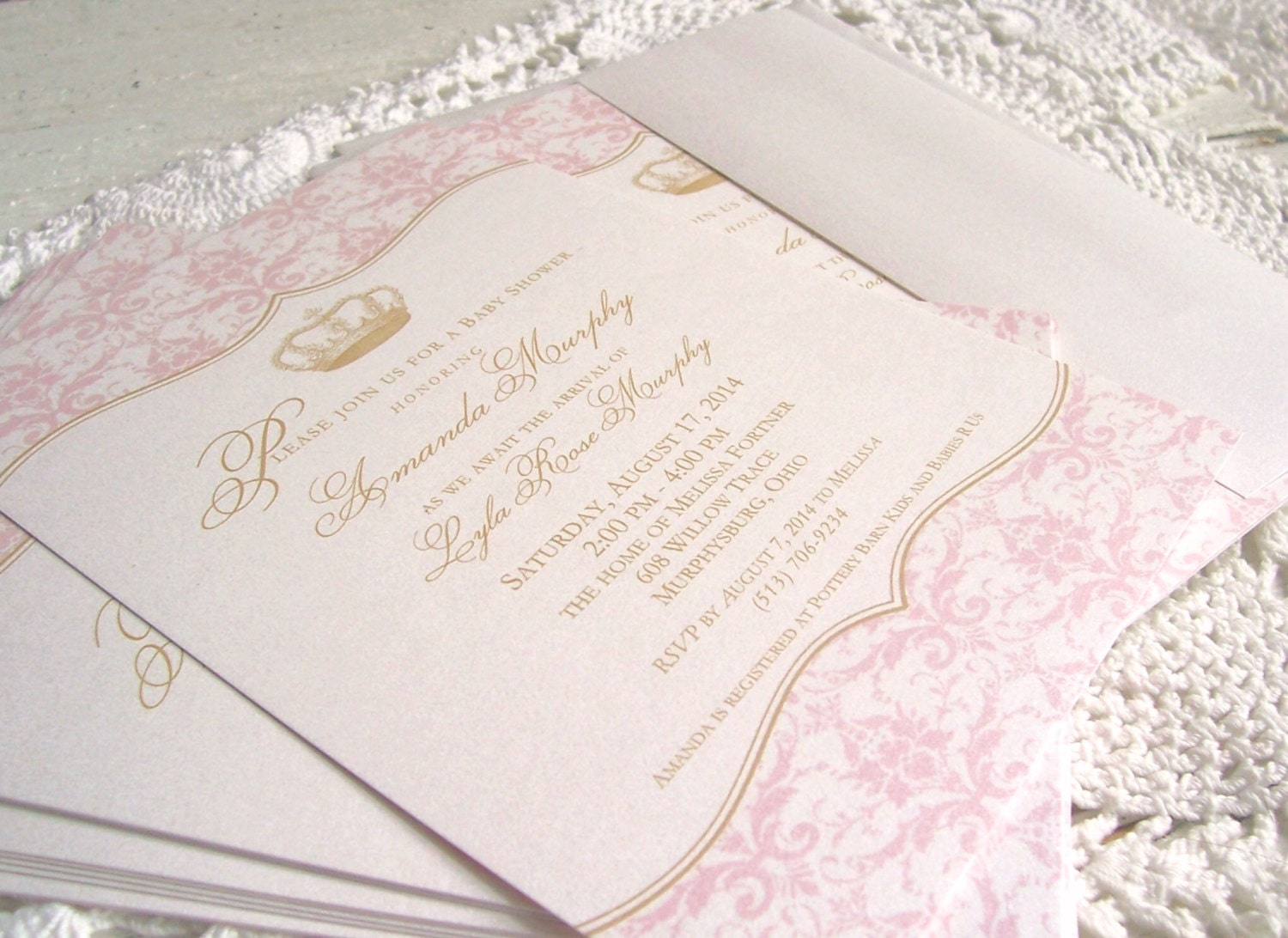 Royal Princess Baby Girl Shower Invitations Pink and Gold
