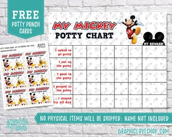 Printable Mickey Mouse Potty Training Chart, FREE Punch Cards | Disney Junior | Digital JPG Files, Instant download, Files are NOT Editable