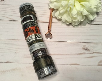 "Halloween Black Washi Tape Samples | 24"" sample"