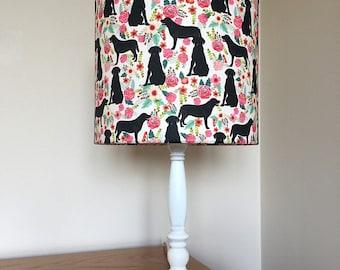 Labrador black dog print fabric lamp