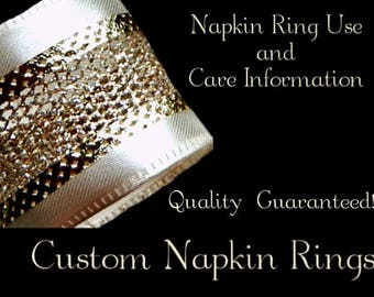 Custom Napkin Rings Care, Handling, and Storage Information and Instructions PDF