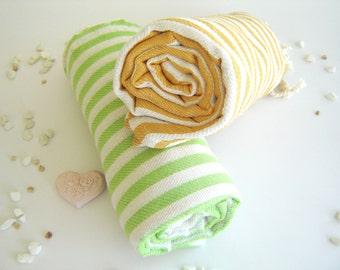 SALE Set of 2 Turkish Bath Towel: Handwoven Peshtemal, Bath, Beach, Spa Towel, Yellow and Green, mother's day gift