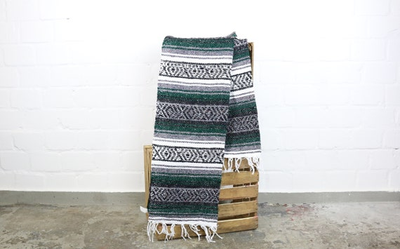 Yogadecke from Mexico hand-woven FALSA 180 x 70 cm dark green * Hot Rod Kustom VW van life Camping Summer * Light brown woven Mexican Blanket