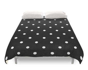 Polka Dots Duvet Cover, 2 Black and White Color Options, Twin Duvet, Full Duvet, Queen Duvet, King Duvet Cover, Modern Bedding, Dots Pattern