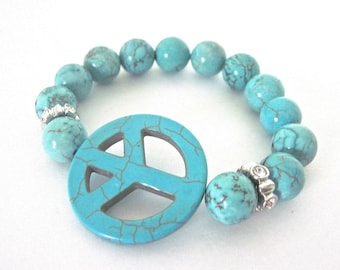 "Peace Sign Bracelet "" It's all about the Love """