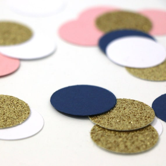 "100 Navy + White + Pink + Gold Glitter Circle 1"" Confetti - Wedding. Bachelorette. Bridal Shower. Baby Shower. Engagement. First Birthday."