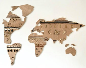 World map Wood / Wood World map