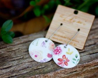 Flower Porcelain Dangle Earrings / Surgical Steel / Free Shipping / Gift Women / Gardening / Garden / Pink Jewelry Ceramic Jewellery