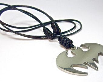 Genuine Leather Surfer Necklace Batman Symbol Pendant Choker Stainless Steel