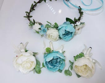 Aqua,Turquoise,Ivory Flower crown, boutonniere, Blue Floral crown,Flower boutonniere,Wedding flower crown,Flower girl crown