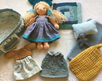 Waldorf doll and wardrobe, Waldorf doll clothes, Waldorf doll, doll outfit, doll wardrobe, ooak doll, handmade doll, doll and clothes, doll