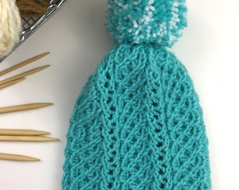 Womens Hat, Slouchy Knit Hat, Teal Hat, Knitted Hats for Women, Pompom, Knit Beanie, FLORETTA HAT