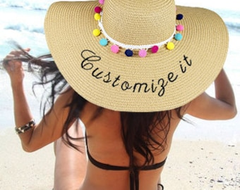 Make Your Own Statement Embroidered Floppy Hat with Pom Pom Straw hat Customize It