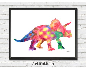 Colorful dinosaur art print, Triceratops print, dinosaur wall art, Dinosaur watercolor art