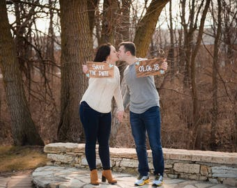 Save The Date Signs, Engagement Photo Props, Couples Engagement Props, Wood Engagment Signs, Custom Engangement Signs, Set of 2