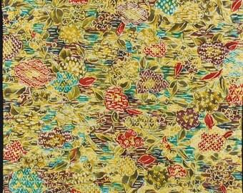 "13.5""w. x 15.1""l. Vintage silk kimono fabric yellow green and red flower 2492xC"