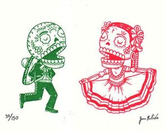 Jarabe Tapatio Limited Edition Gocco Screenprint Day of the Dead Art