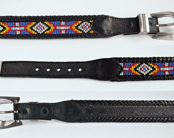 Vintage 1991 EDDIE BAUER ~ SouthWestern BEADED Whip-EDGEs Black Leather  Belt