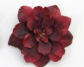 Dark Red Flower Hair Clip - 1 PIECE  - Dark Red Wine Burgundy Garnet Realistic Flower Hair Accessory - Add to hairstyle, hat, headband