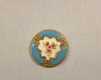 Hand painted champleve enamel button .