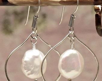Pearl Earrings, Silver Pearl Earrings, Lotus Petal and Pearl Earrings, Wedding Earrings, Bridesmaid Earrings, White Pearl Earrings