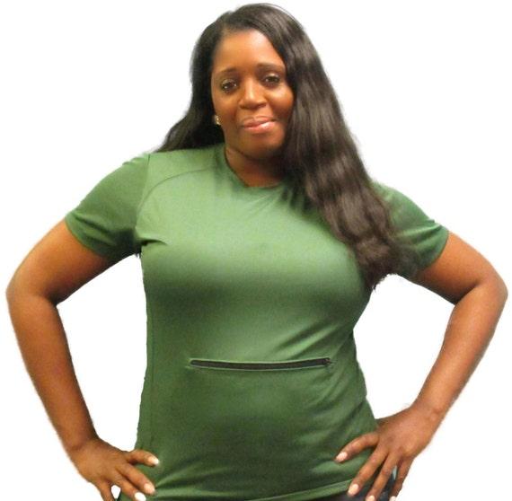 Sweaty Tee, Style 5, women's slit panel with zipper, solid color tee