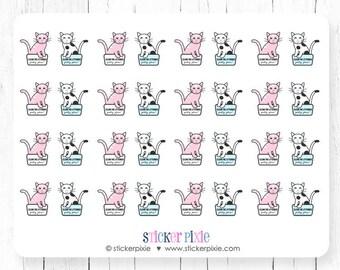 Kawaii Clean Cat Litter Box Planner Stickers Pink Blue Kitty Stickers