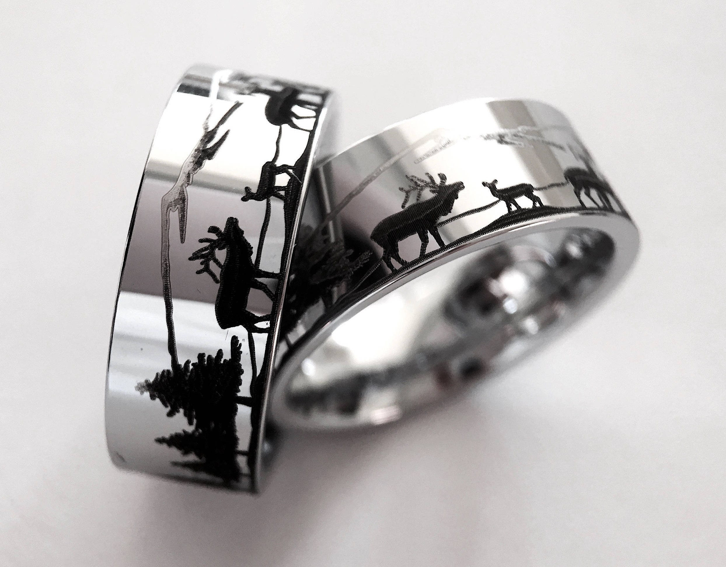 tungsten wedding band promise ringspersonalized animal