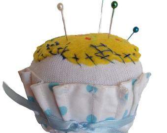 Pincushion, Cupcake Pincushion, Cupcake, Pin Cushion, Cupcake Pin Cushion, Sewing Accessories, Pins, Pin Organizer, Walnut Shells, CCPIN304