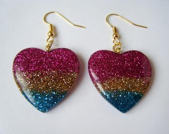 Earrings hearts Rainbow ♥ ♥