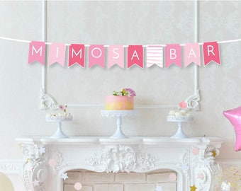 Mimosa Bar Banner - Champagne Shower Decor - Bridal Brunch Decor - Bridal Shower Decor - Bubbly Bar Banner - Champagne Birthday Decor