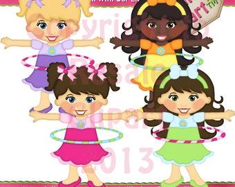 Hoola Hoop Girls Clipart (Digital Download)