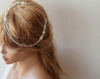Bridal Hair Accessory, Rhinestone and Pearl  headband, Wedding headband,  Bridal Headband